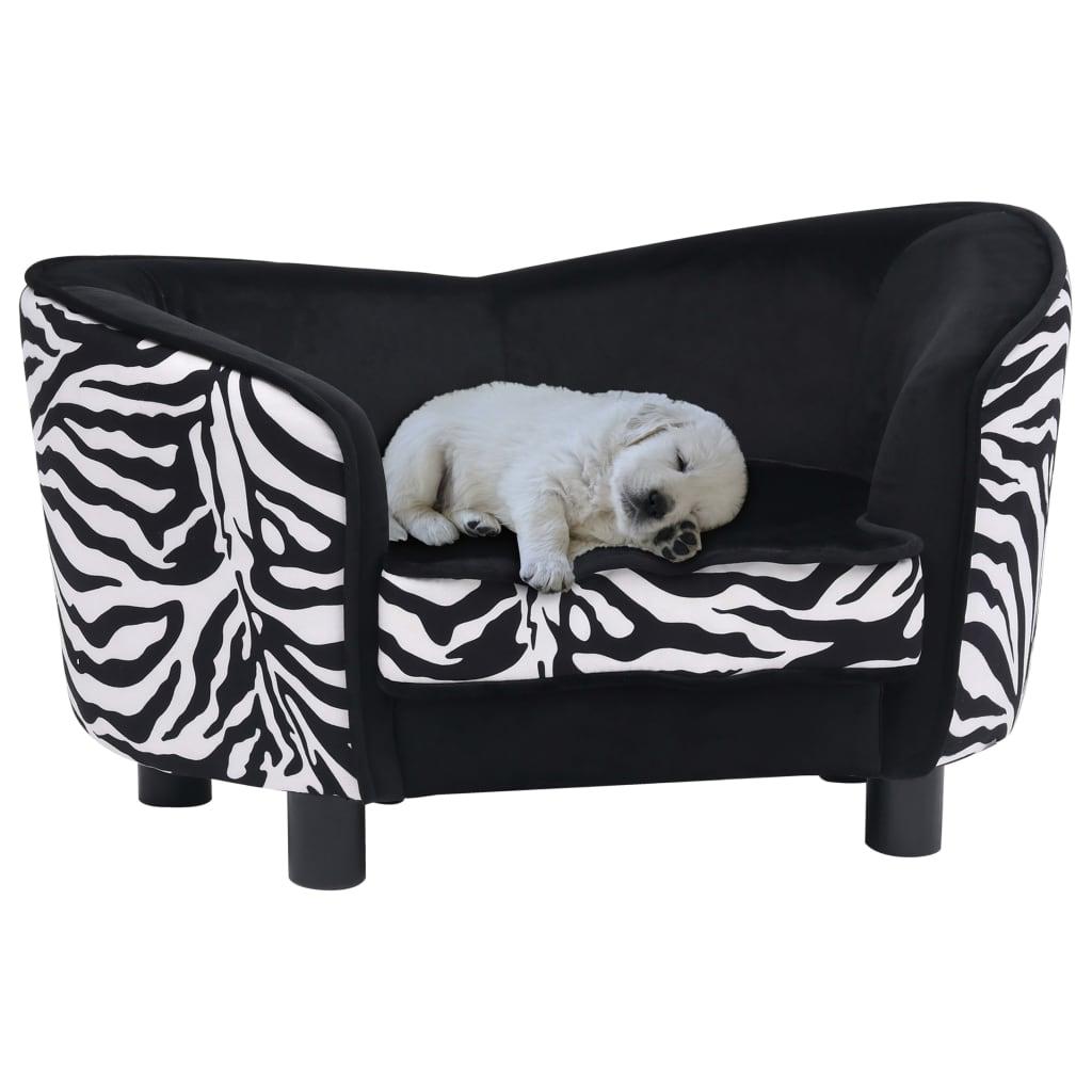 vidaXL Pohovka pre psa čierna 68x38x38 cm plyšová