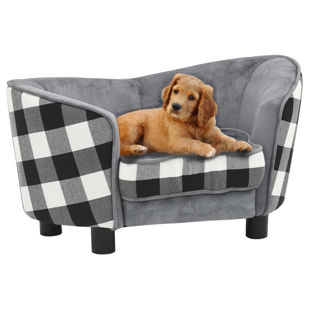 vidaXL Pohovka pre psa sivá 68x38x38 cm plyšová