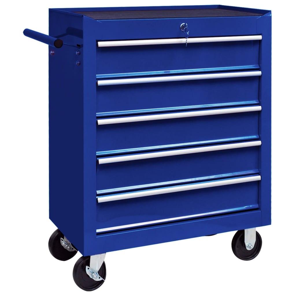 vidaXL Dielenský vozík na náradie s 5 zásuvkami modrý