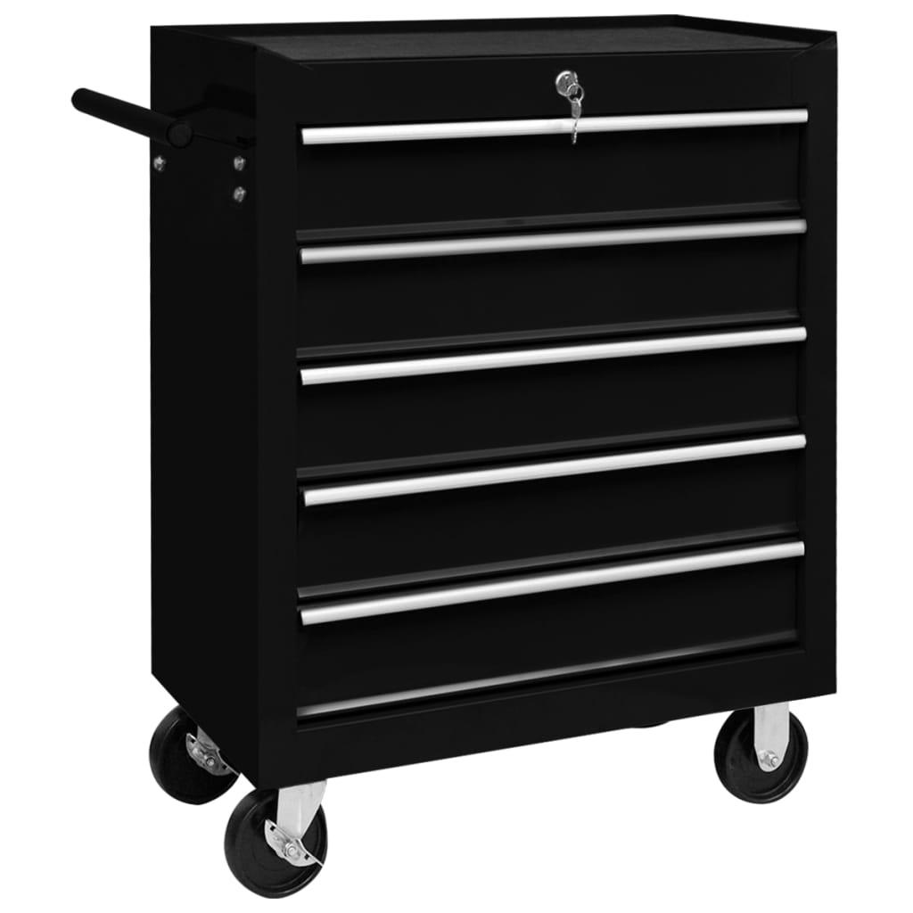 vidaXL Dielenský vozík na náradie s 5 zásuvkami čierny