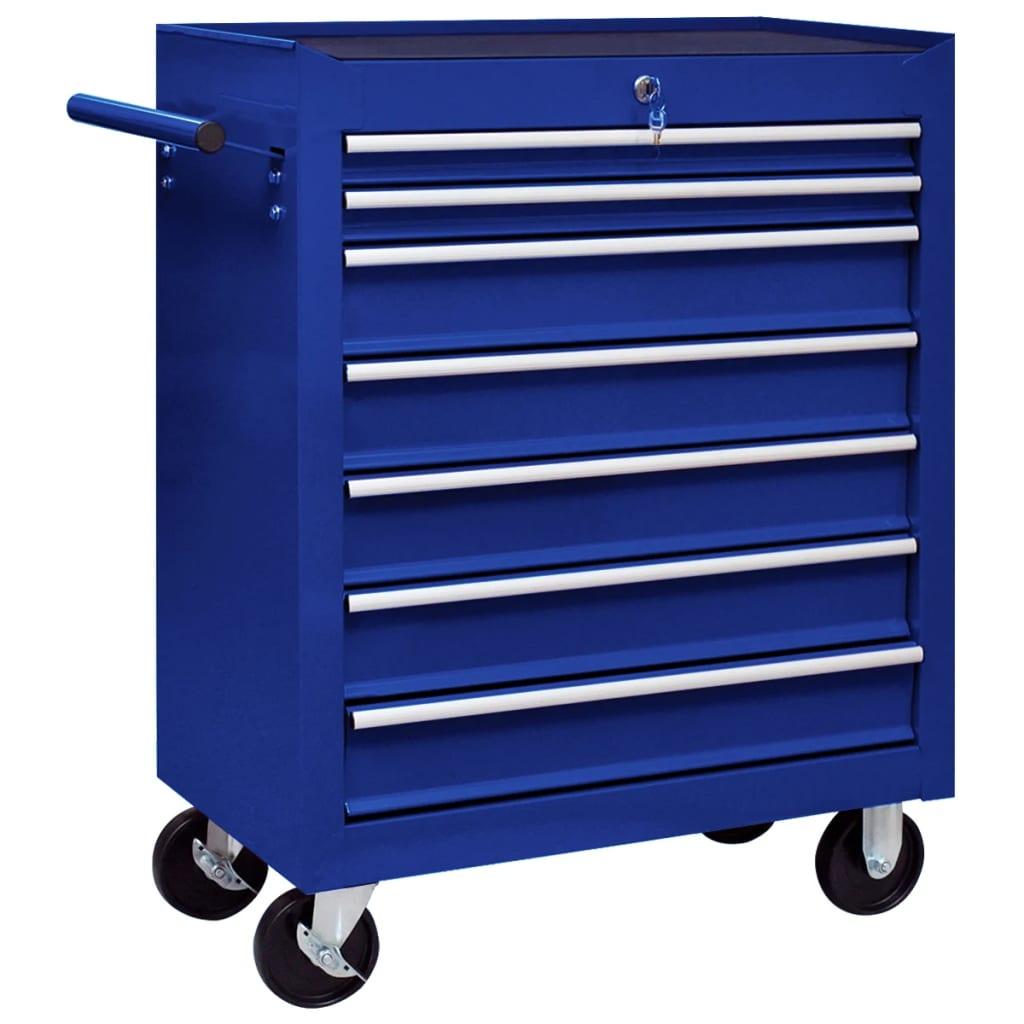 vidaXL Dielenský vozík na náradie so 7 zásuvkami modrý