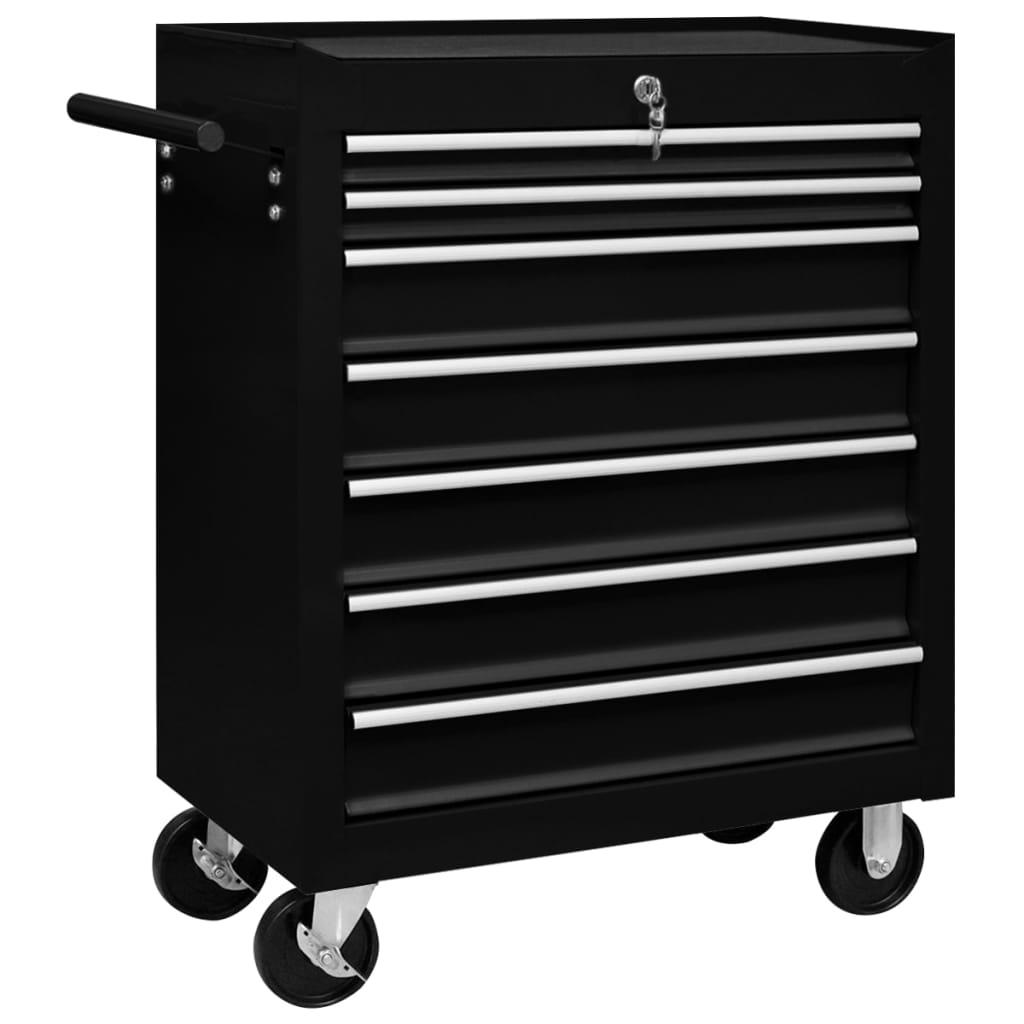 vidaXL Dielenský vozík na náradie so 7 zásuvkami čierny