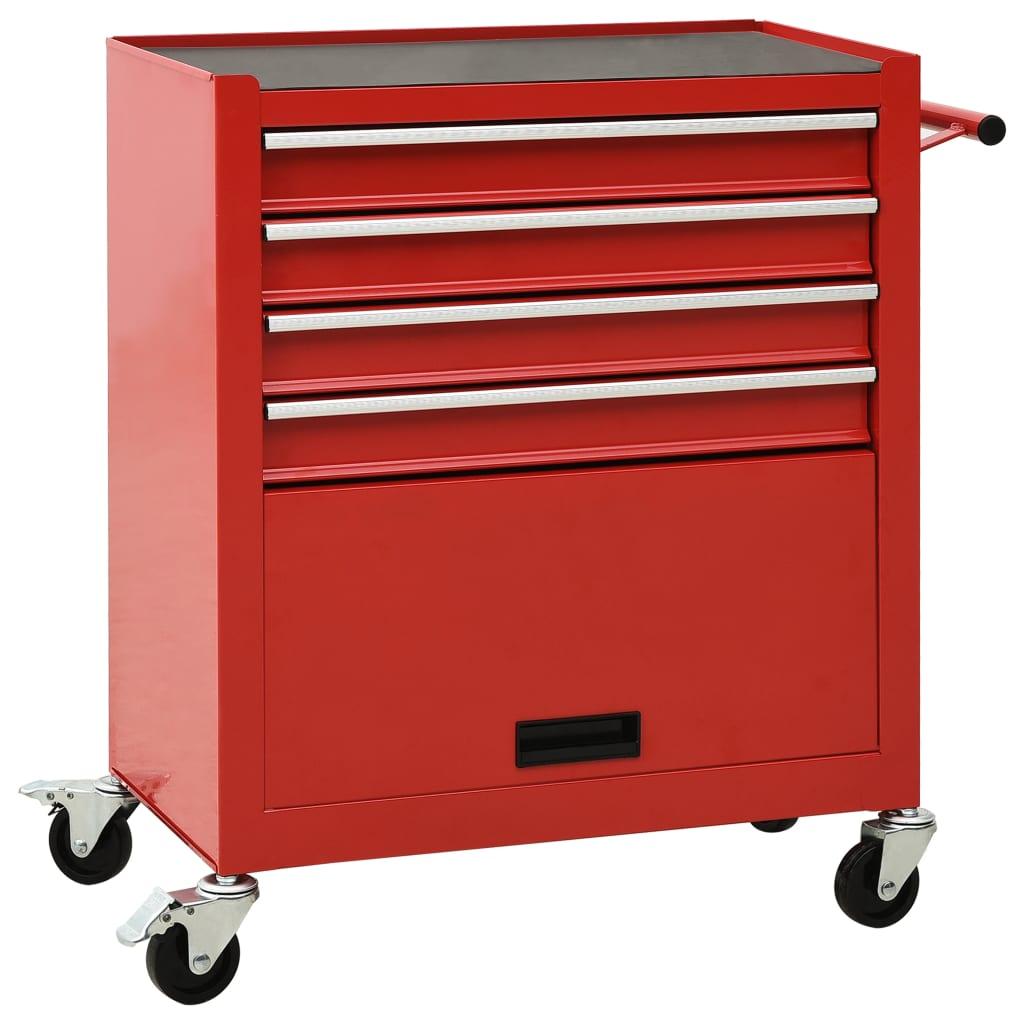 vidaXL Vozík na náradie so 4 zásuvkami oceľový červený