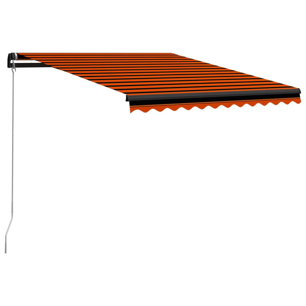 vidaXL Ručne zaťahovacia markíza 300x250 cm oranžová a hnedá