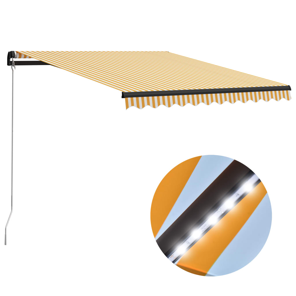 vidaXL Ručne zaťahovacia markíza s LED 300x250 cm žlto-biela