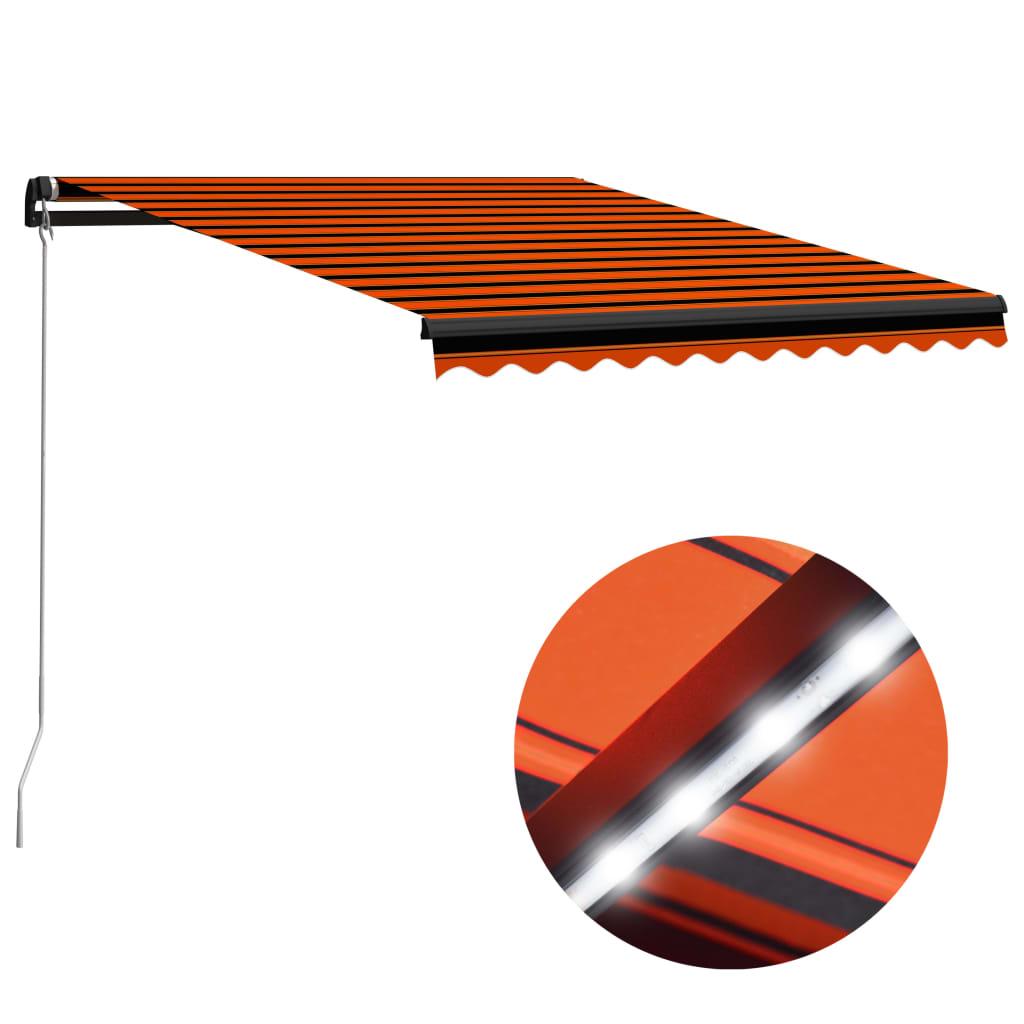 vidaXL Ručne zaťahovacia markíza s LED 300x250 cm oranžovo-hnedá