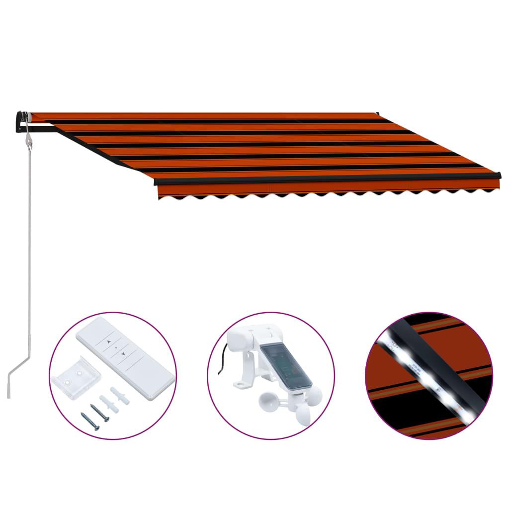 vidaXL Zaťahovacia markíza so snímačom vetra a LED oranžovo-hnedá 450x300 cm