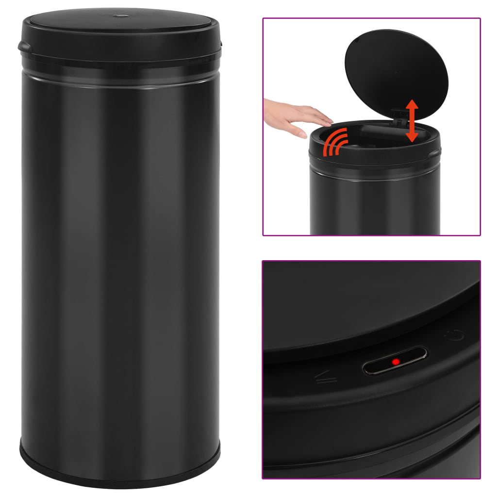 vidaXL Automatický odpadkový kôš, senzor 80 l, uhlíková oceľ, čierny