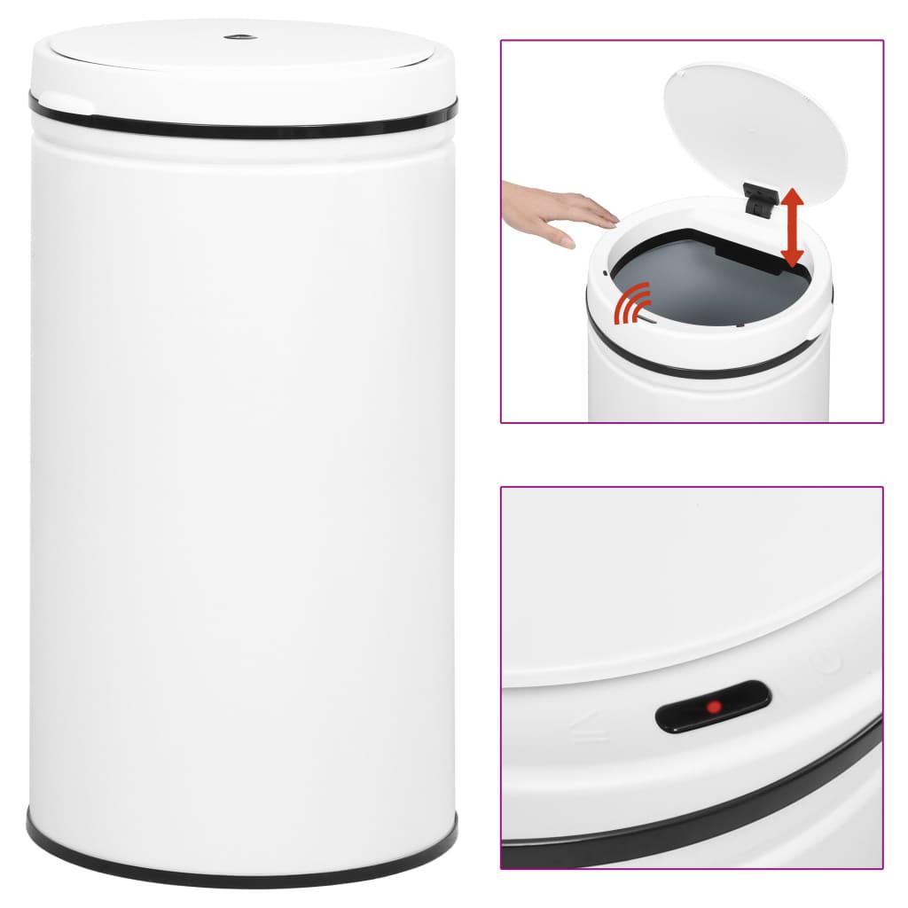 vidaXL Automatický odpadkový kôš, senzor 60 l, uhlíková oceľ, biely