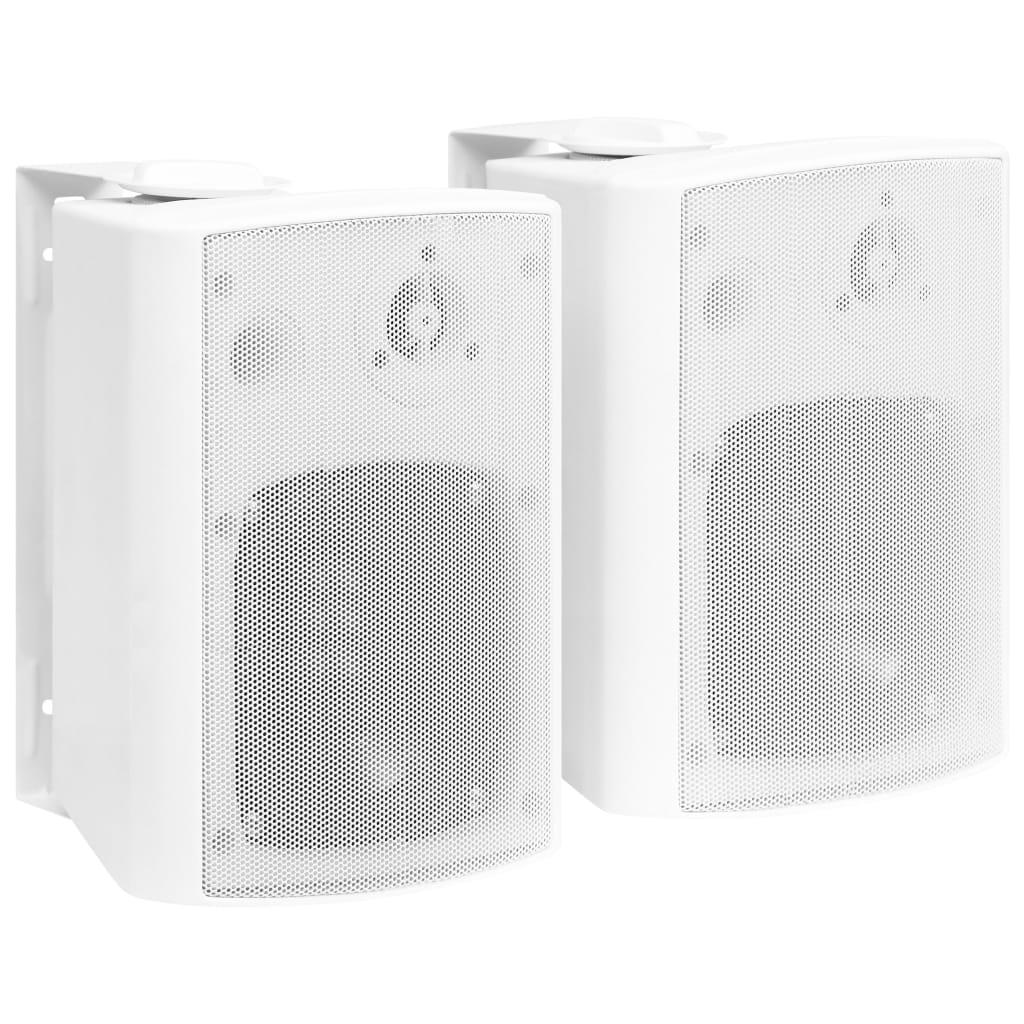 vidaXL Nástenné stereo reproduktory do interiéru a exteriéru 2 ks biele 100 W