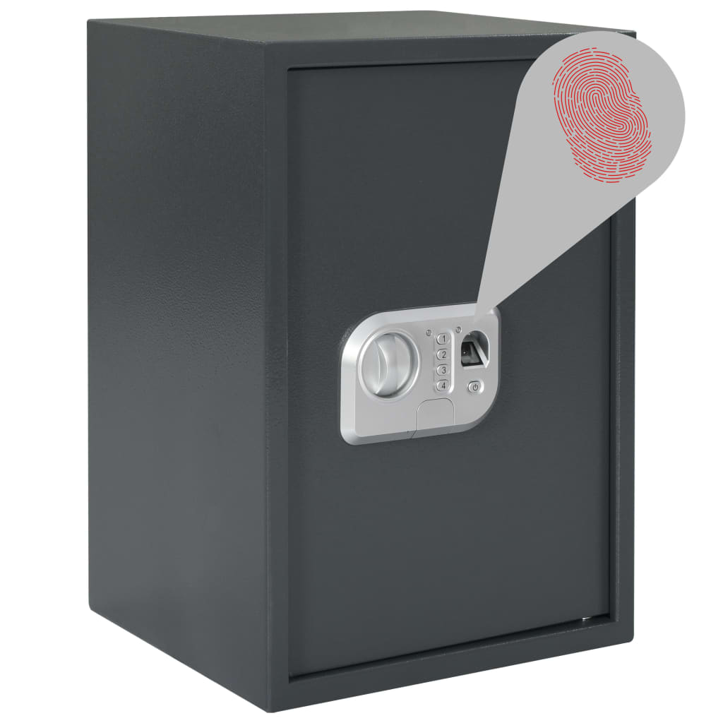 vidaXL Digitálny trezor na odtlačok prsta tmavosivý 35x31x50 cm