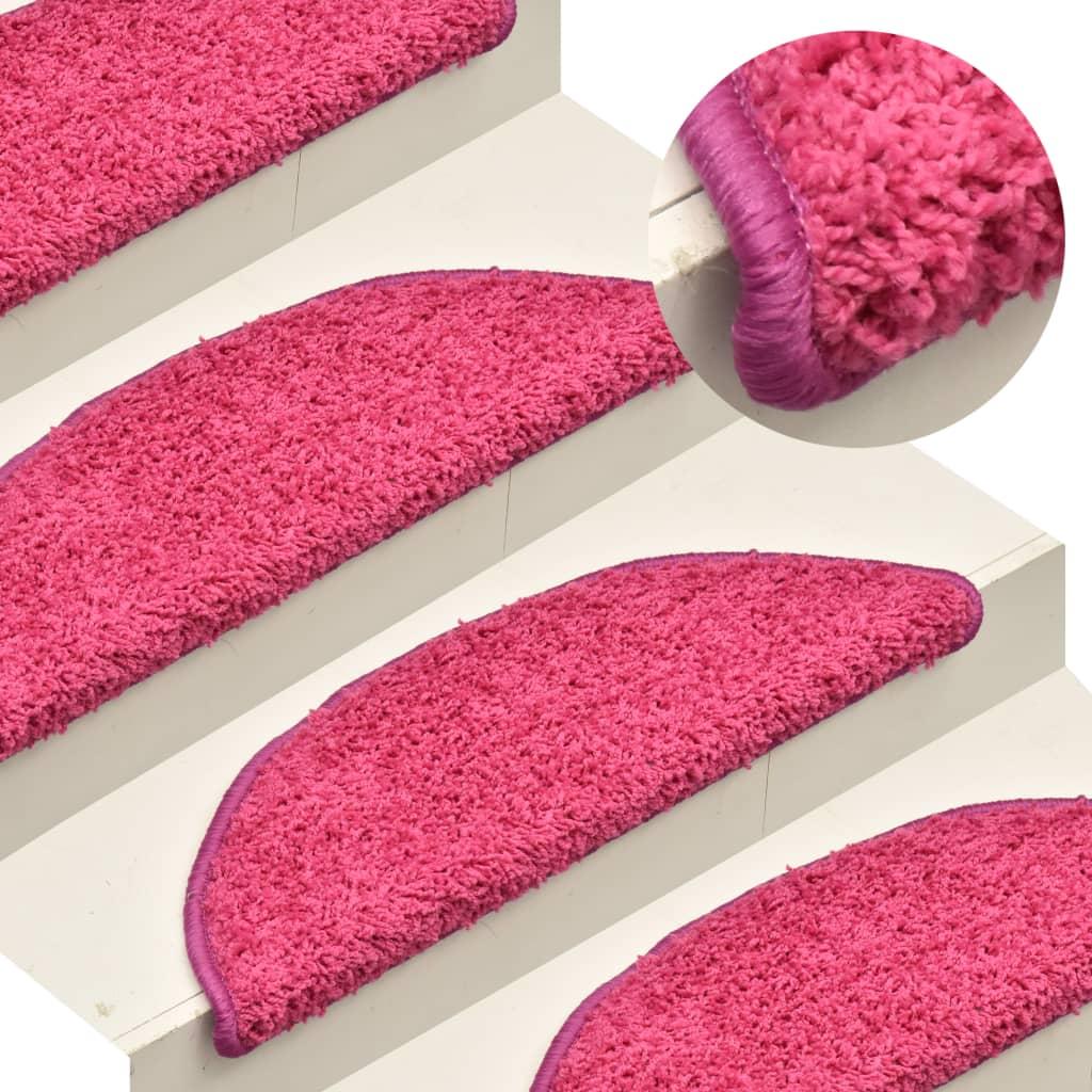 vidaXL Kobercové nášľapy na schody 15 ks ružové 56x17x3 cm