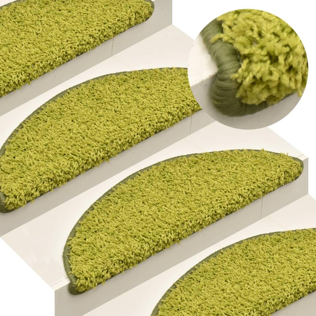 vidaXL Kobercové nášľapy na schody 15 ks zelené 65x21x4 cm