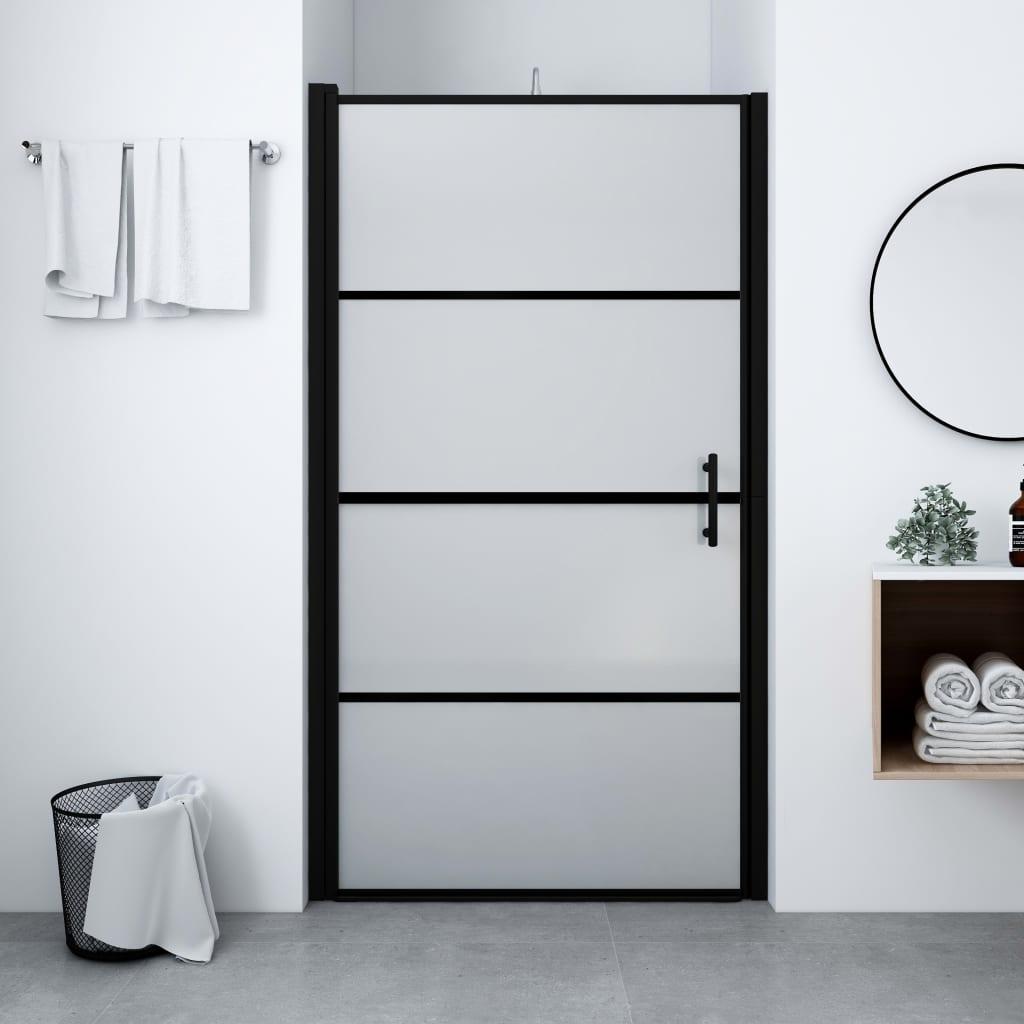 vidaXL Sprchové dvere nepriehľadné tvrdené sklo 91x195 cm čierne