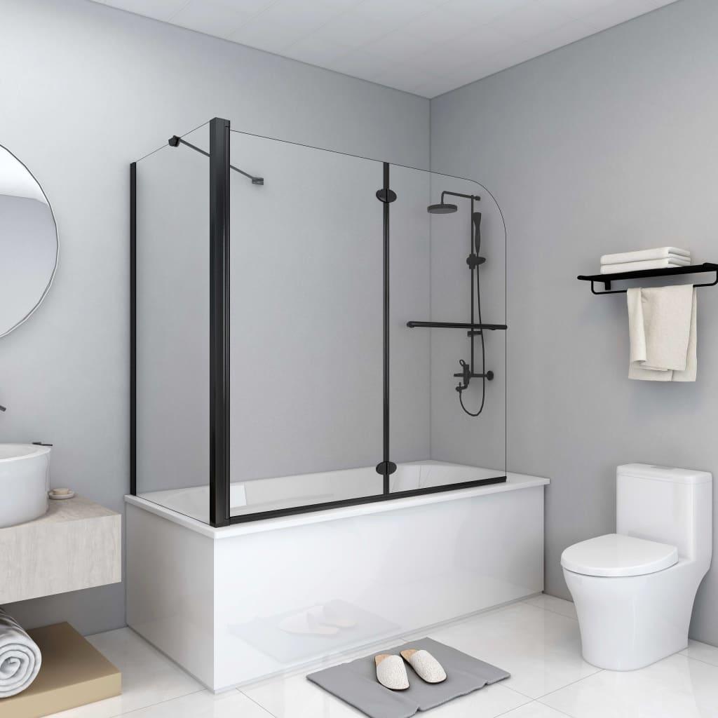 vidaXL Dvojkrídlový sprchový kút ESG 120x68x130 cm čierny