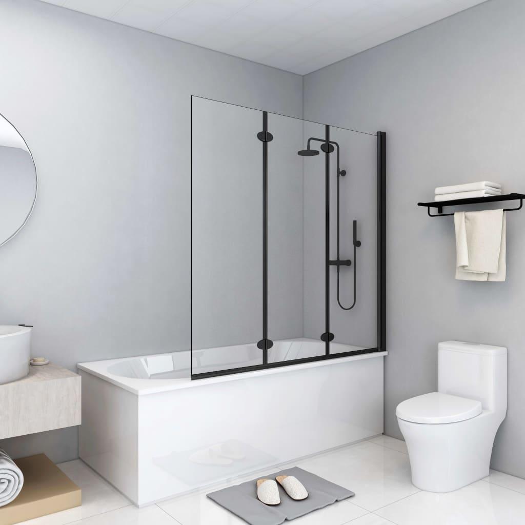 vidaXL Skladací sprchový kút 3 panely 130x138 cm ESG čierny