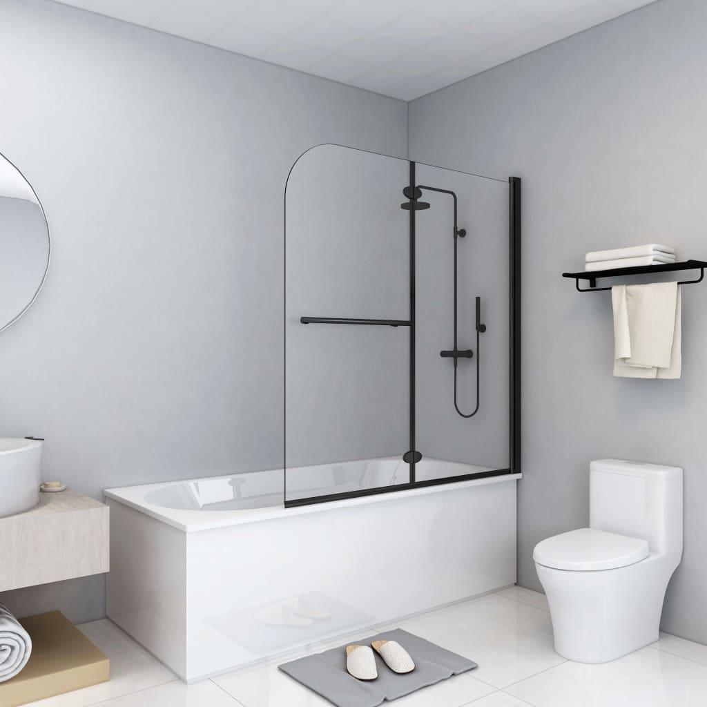 vidaXL Skladací sprchový kút 2 panely 120x140 cm ESG čierny
