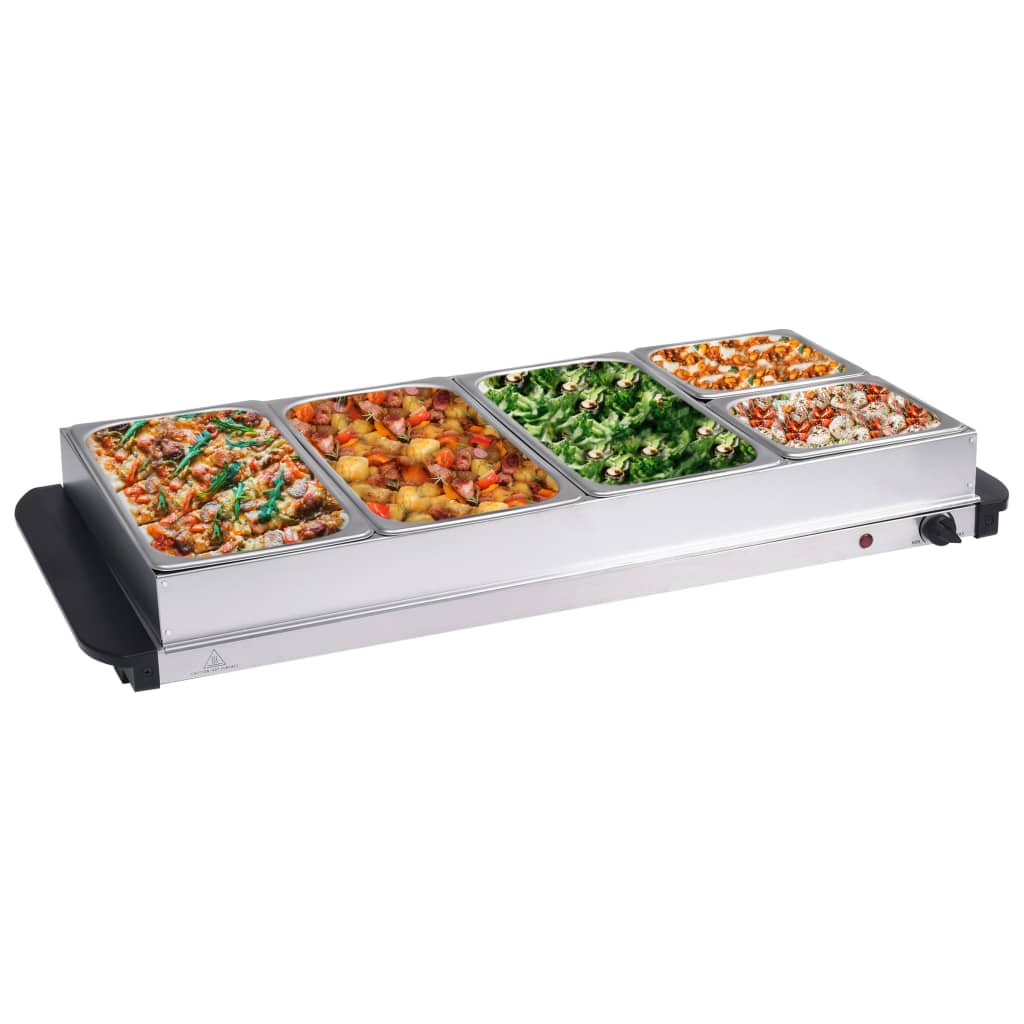 vidaXL Ohrievač na jedlo nehrdzavejúca oceľ 400 W 3x2,5l+2x1l
