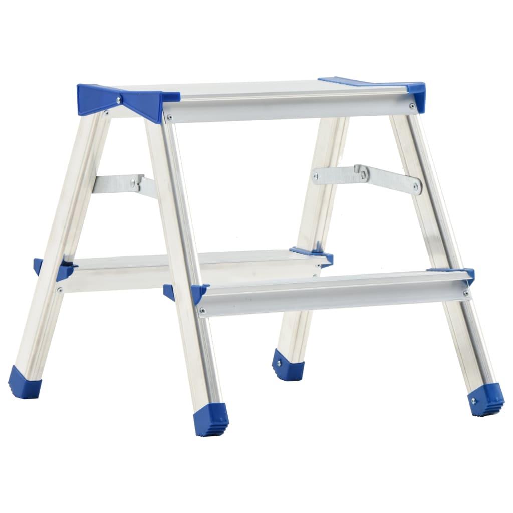 vidaXL 2-stupňový hliníkový obojstranný rebrík 44 cm