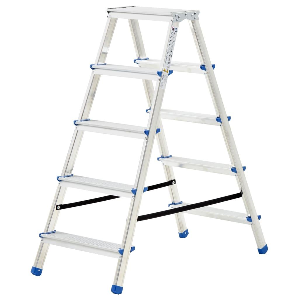 vidaXL 5-stupňový hliníkový obojstranný rebrík 113 cm