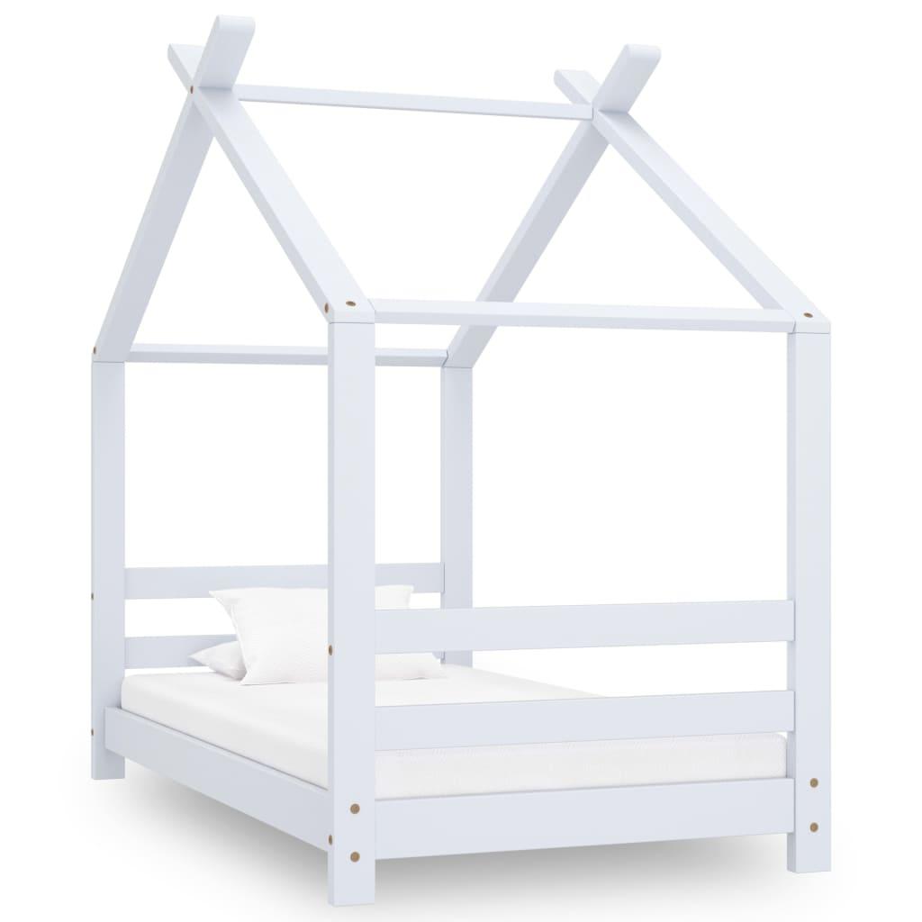 vidaXL Rám detskej postele biely 70x140 cm borovicový masív