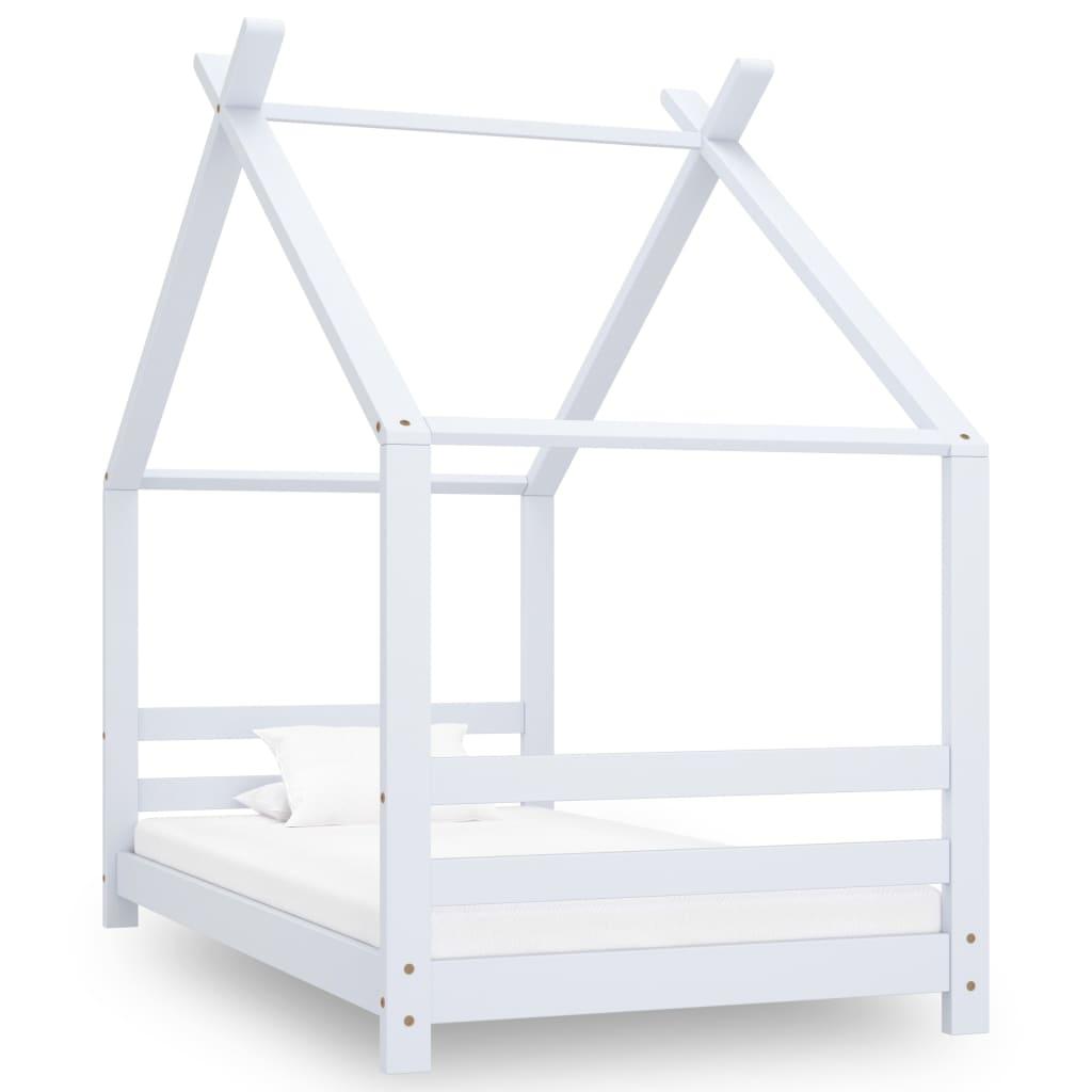 vidaXL Rám detskej postele biely 80x160 cm borovicový masív