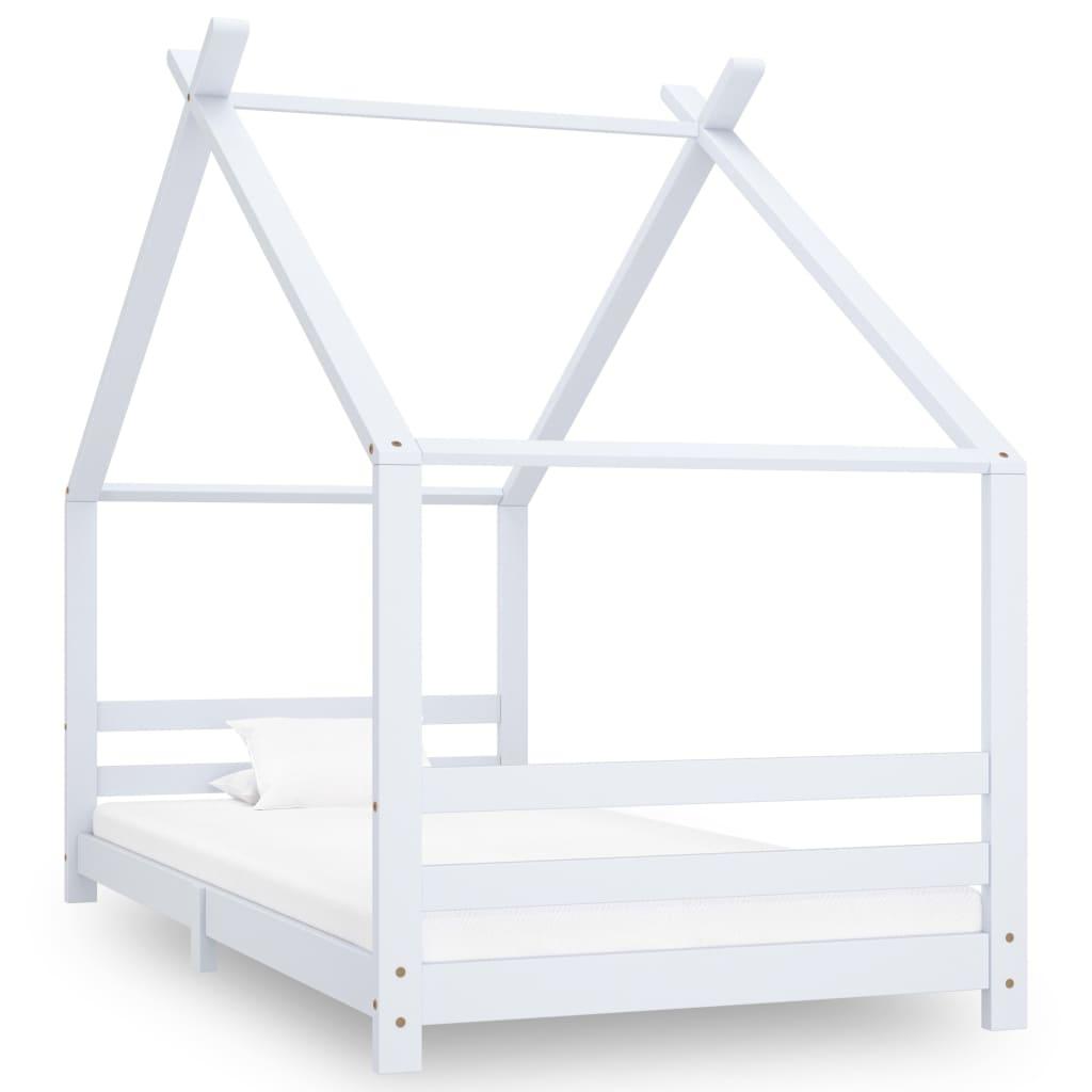 vidaXL Rám detskej postele biely 90x200 cm borovicový masív