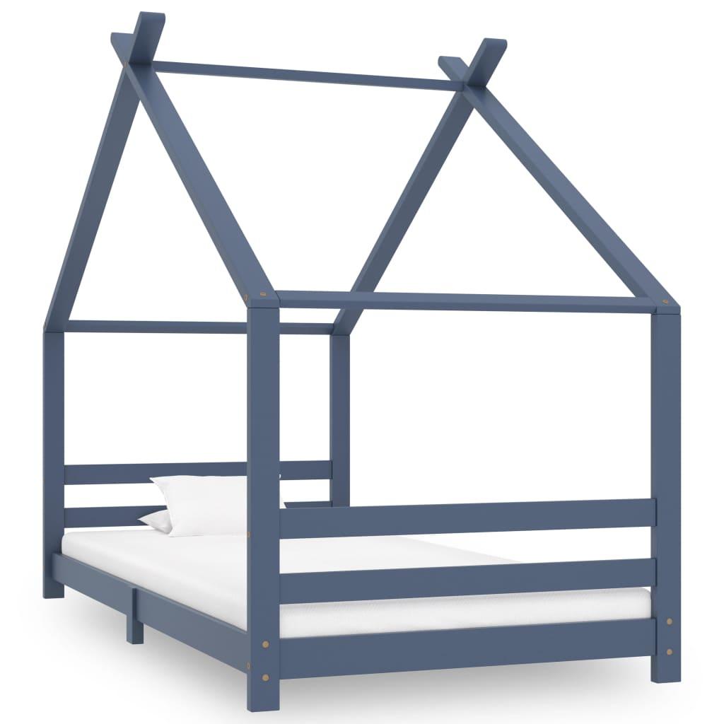 vidaXL Rám detskej postele sivý 90x200 cm borovicový masív