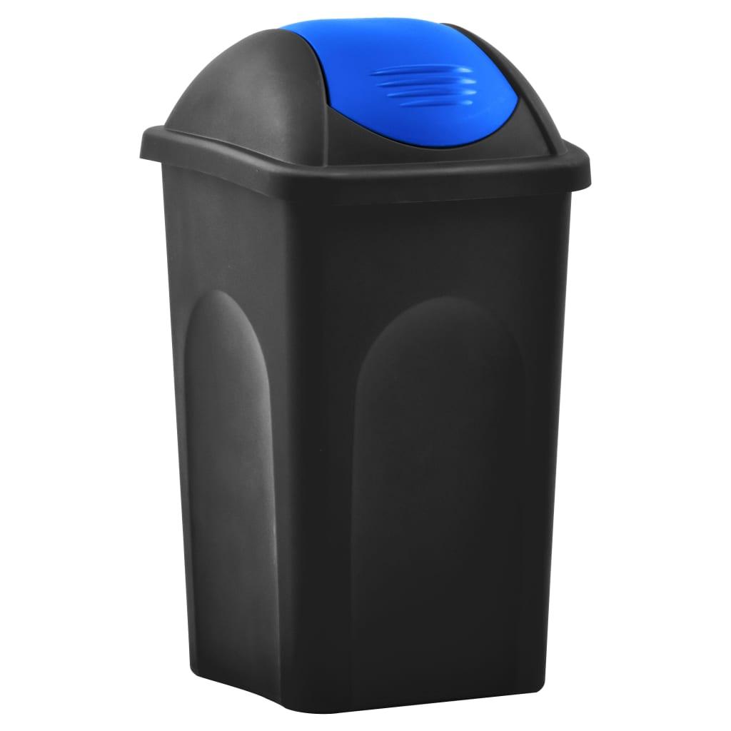 vidaXL Odpadkový kôš s otočným vekom 60l čierno-modrý