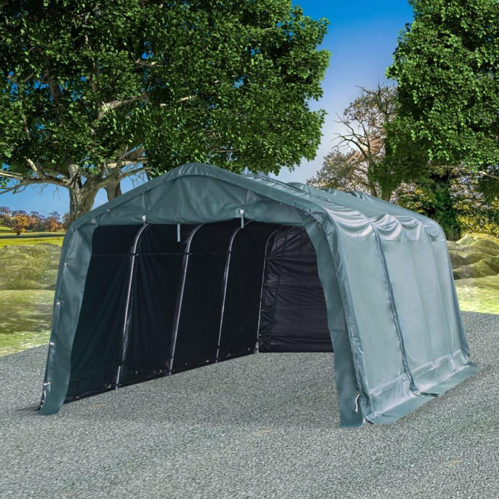 vidaXL Odnímateľný prístrešok pre dobytok PVC 550 g/m², 3,3x6,4 m, zelený