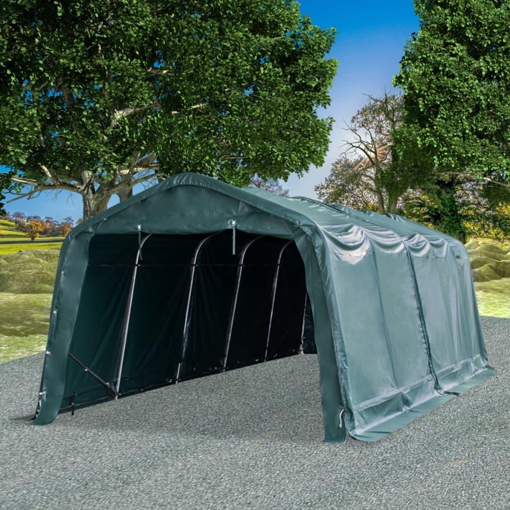 vidaXL Odnímateľný prístrešok pre dobytok PVC 550 g/m², 3,3x8m, zelený