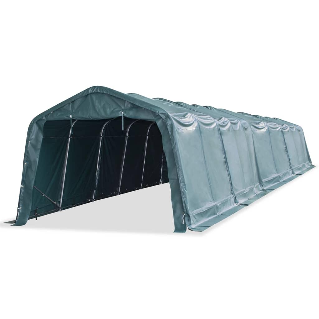 vidaXL Odnímateľný prístrešok pre dobytok PVC 550 g/m², 3,3x16 m, zelený