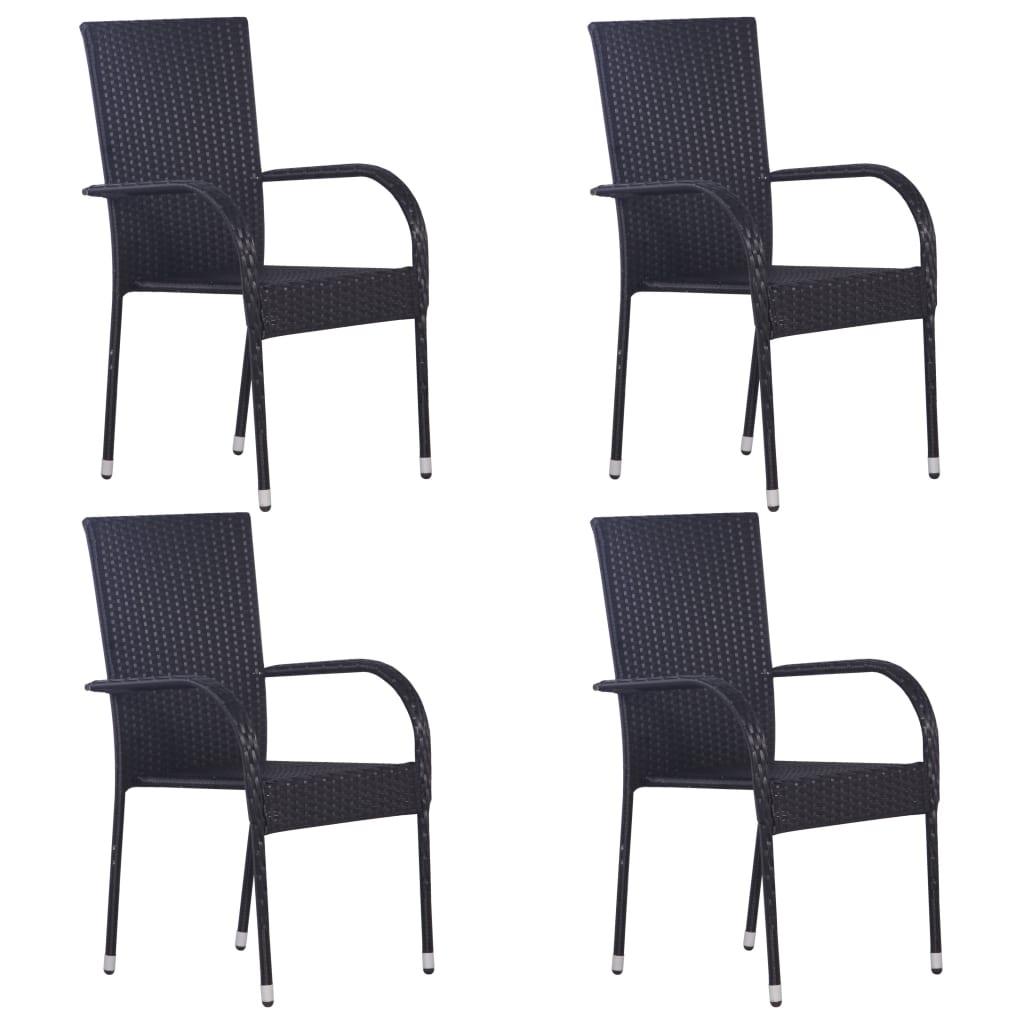 vidaXL Stohovateľné vonkajšie stoličky 4 ks polyratan čierne