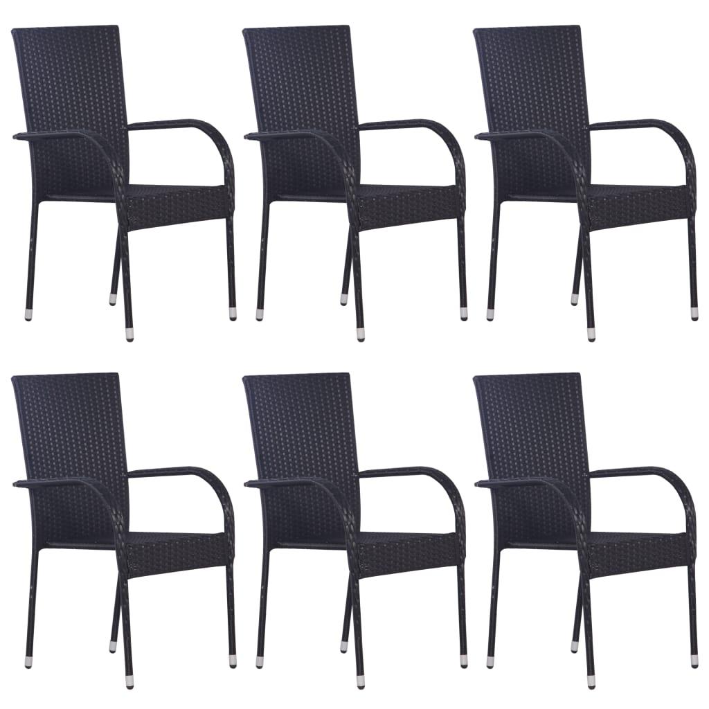 vidaXL Stohovateľné vonkajšie stoličky 6 ks polyratan čierne