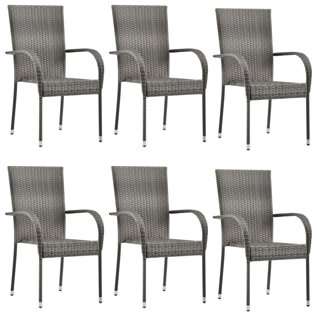 vidaXL Stohovateľné vonkajšie stoličky 6 ks sivé polyratanové