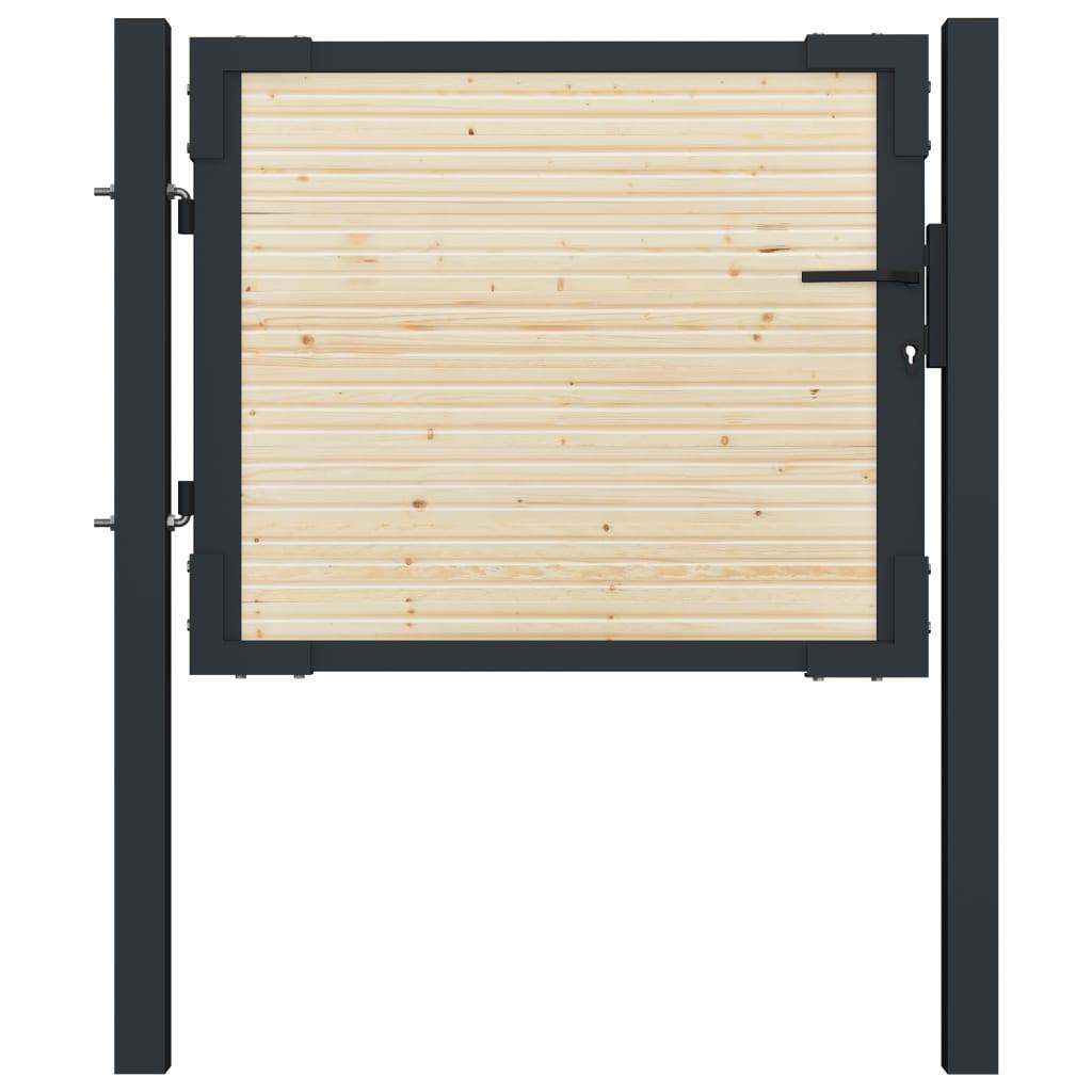 vidaXL Plotová brána 107x125 cm oceľ a smrekové drevo