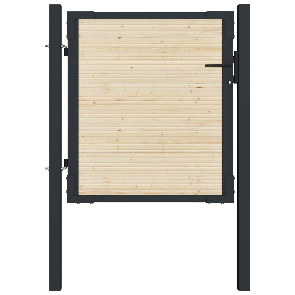 vidaXL Plotová brána 107x150 cm oceľ a smrekové drevo