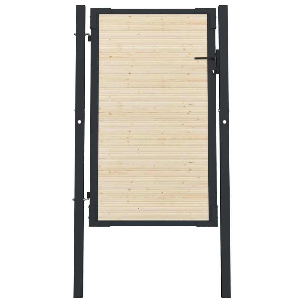 vidaXL Plotová brána 107x200 cm oceľ a smrekové drevo