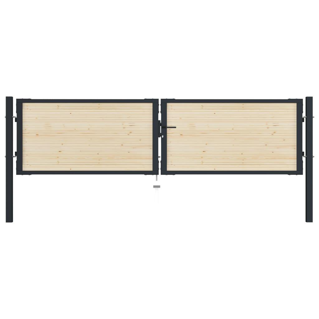 vidaXL Plotová brána 310x125 cm oceľ a smrekové drevo