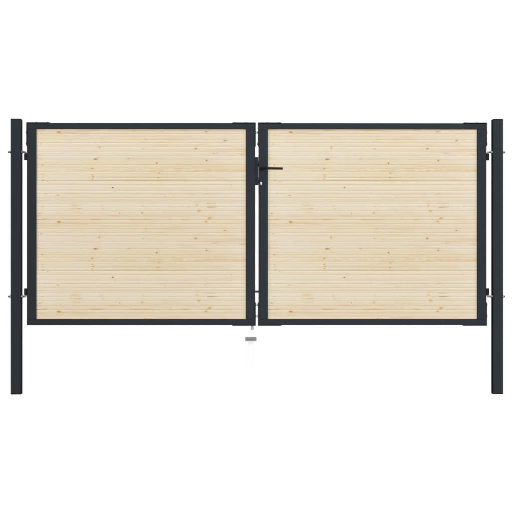 vidaXL Plotová brána 310x175 cm oceľ a smrekové drevo