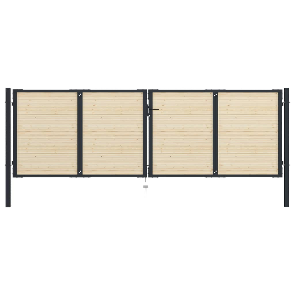 vidaXL Plotová brána 408x175 cm oceľ a smrekové drevo