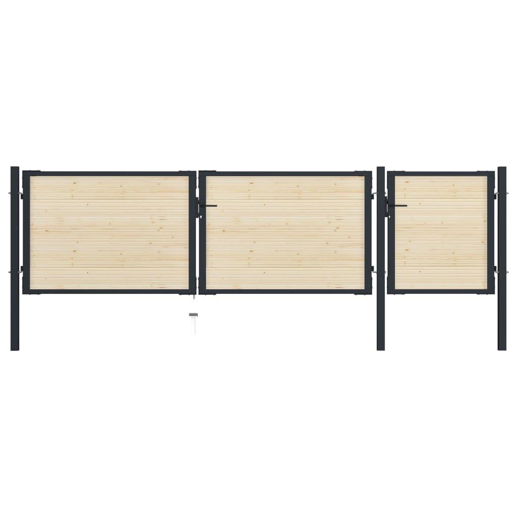 vidaXL Plotová brána 413x150 cm oceľ a smrekové drevo