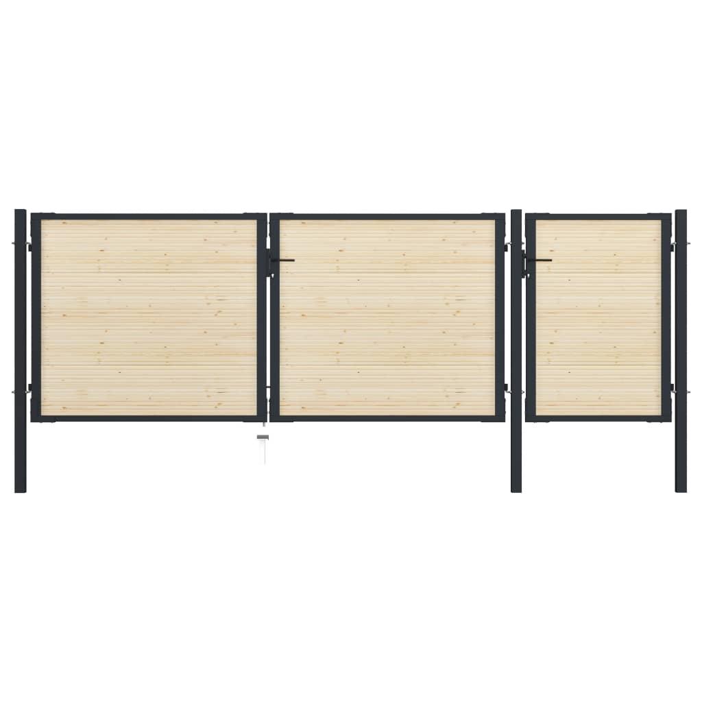 vidaXL Plotová brána 413x175 cm oceľ a smrekové drevo