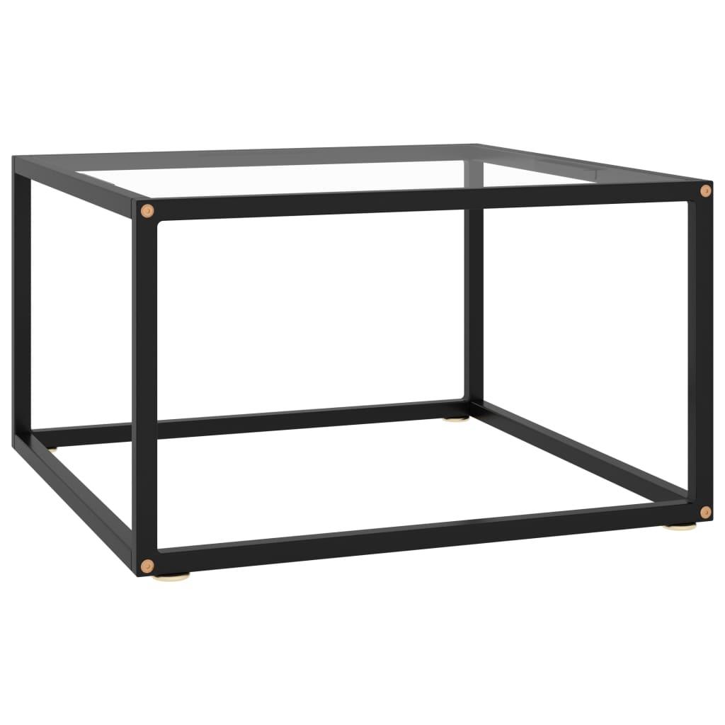 vidaXL Čajový stolík čierny s tvrdeným sklom 60x60x35 cm