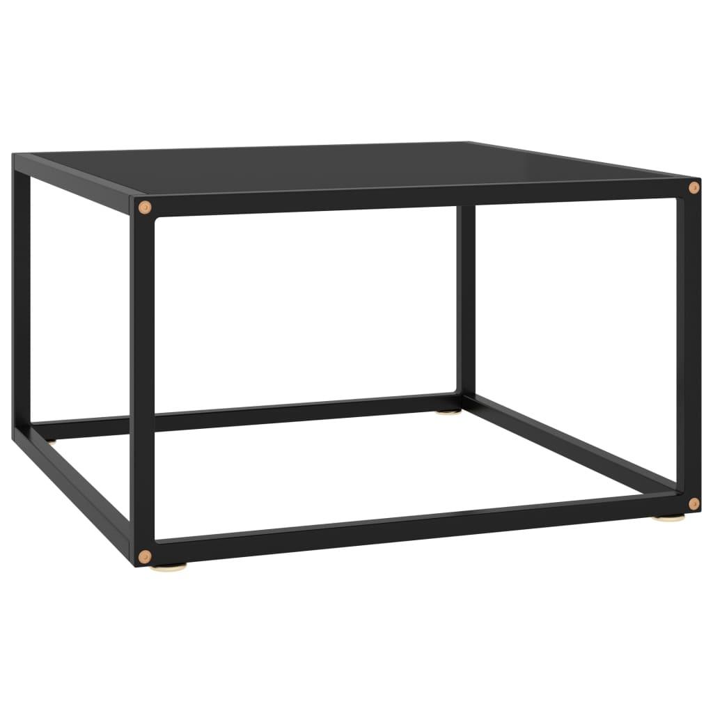 vidaXL Čajový stolík čierny s čiernym sklom 60x60x35 cm
