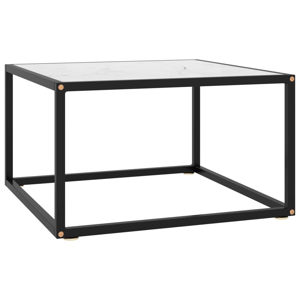 vidaXL Čajový stolík čierny s bielym mramorovým sklom 60x60x35 cm