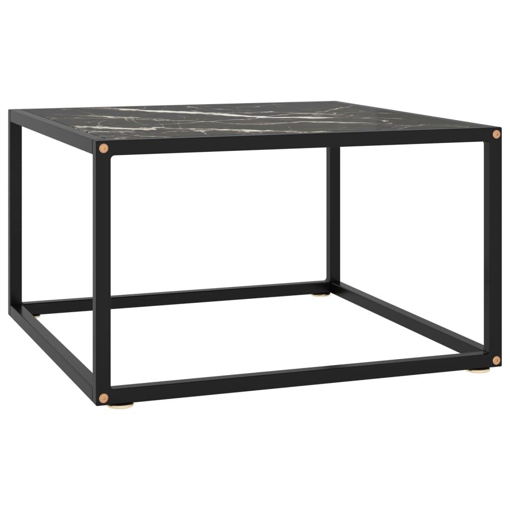 vidaXL Čajový stolík čierny s čiernym mramorovým sklom 60x60x35 cm