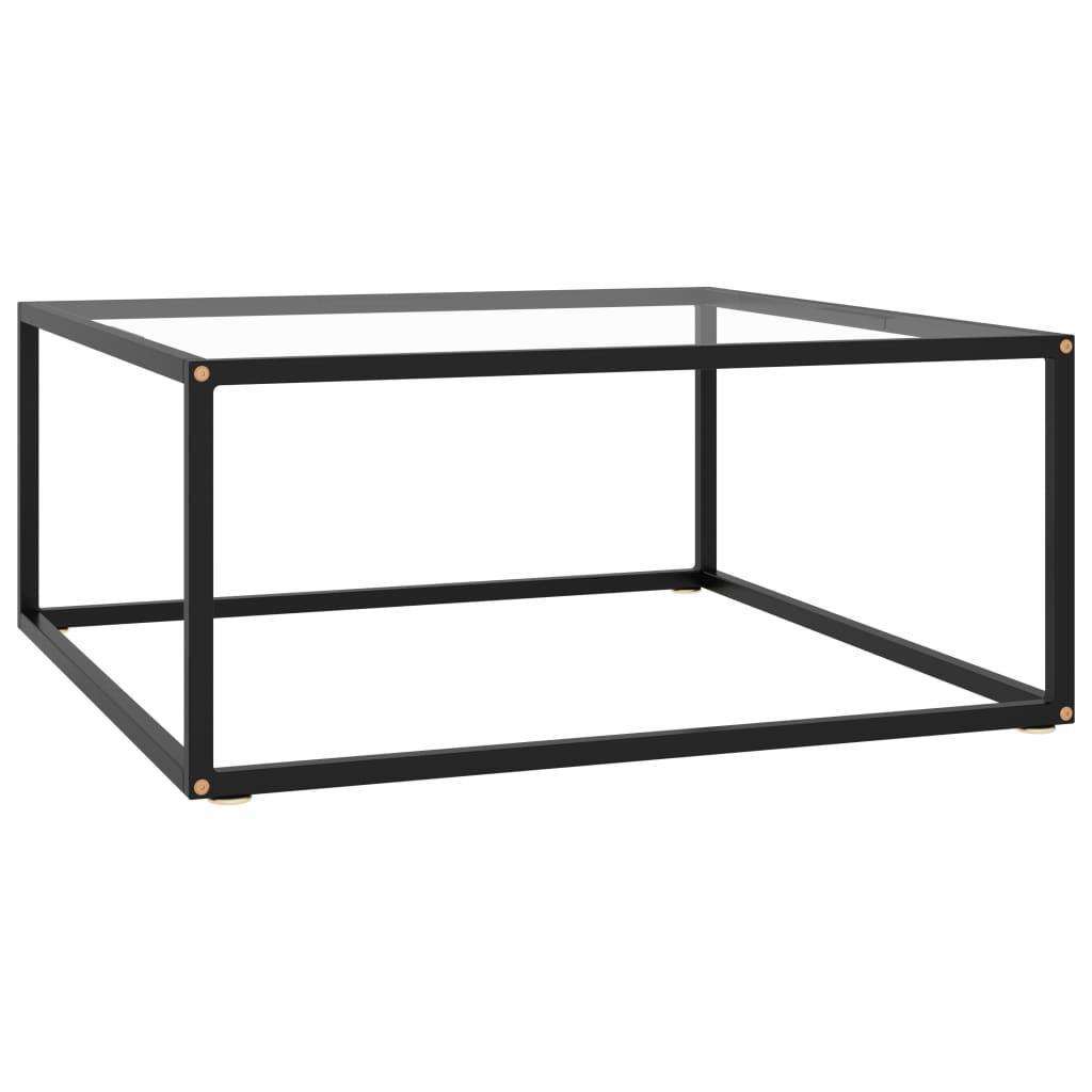vidaXL Čajový stolík čierny s tvrdeným sklom 80x80x35 cm