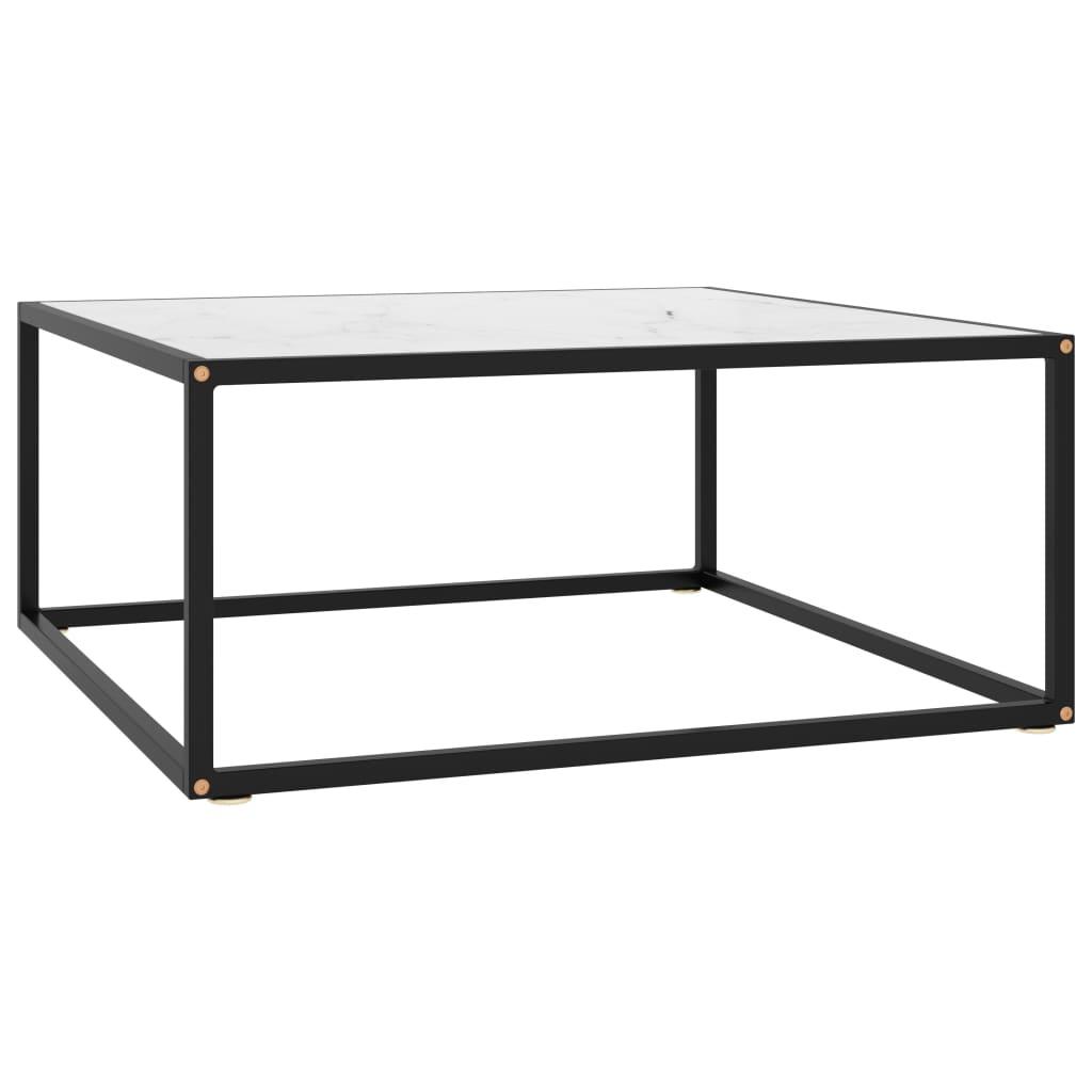 vidaXL Čajový stolík čierny s bielym mramorovým sklom 80x80x35 cm