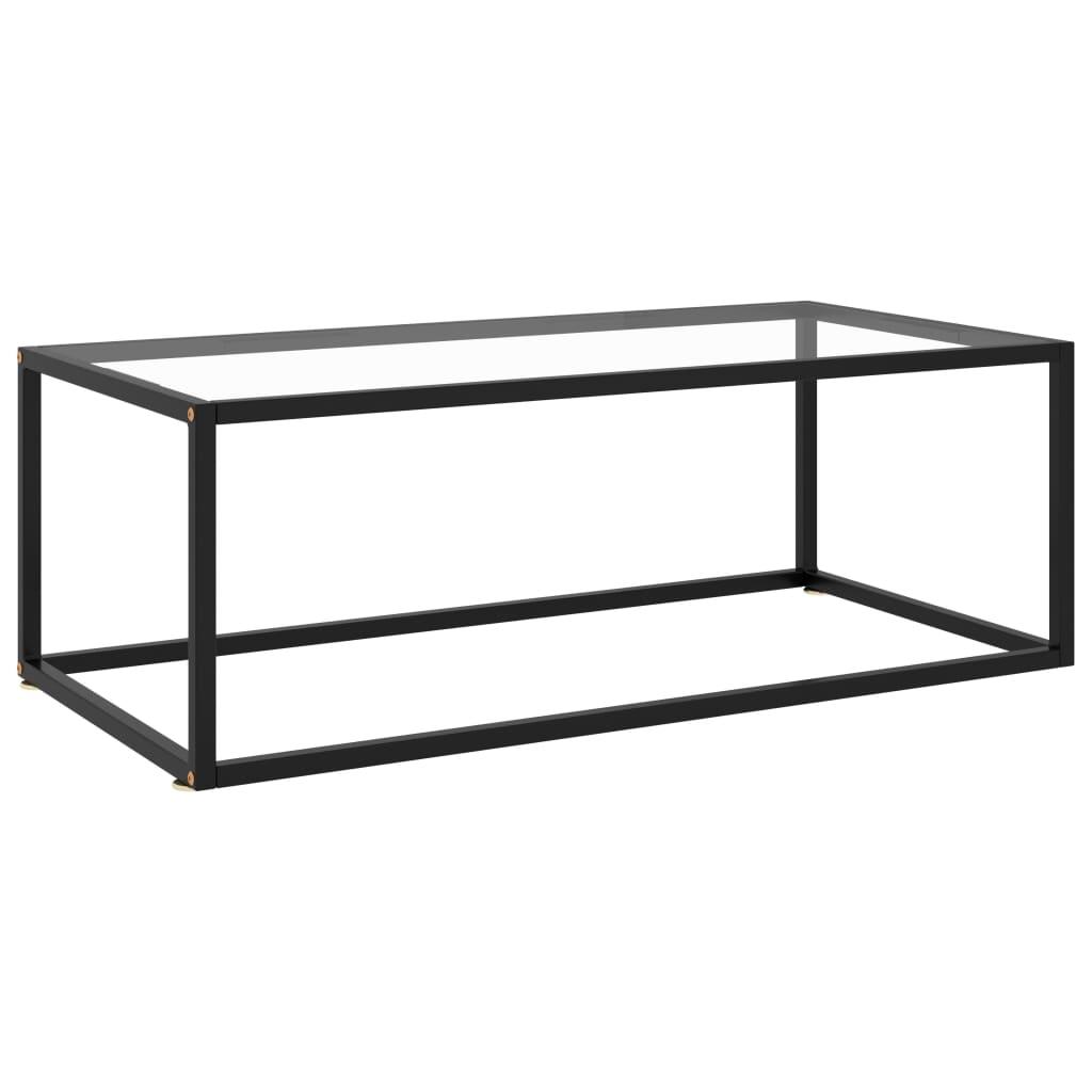 vidaXL Čajový stolík čierny s tvrdeným sklom 100x50x35 cm